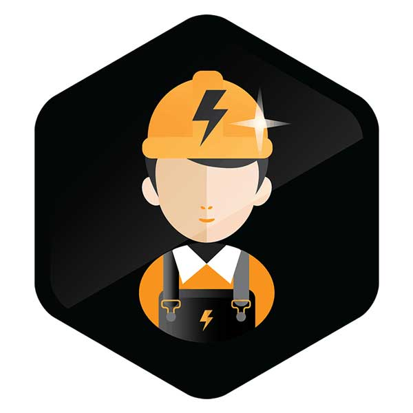 Qualified Electrician Black Shape Electrician Lightning